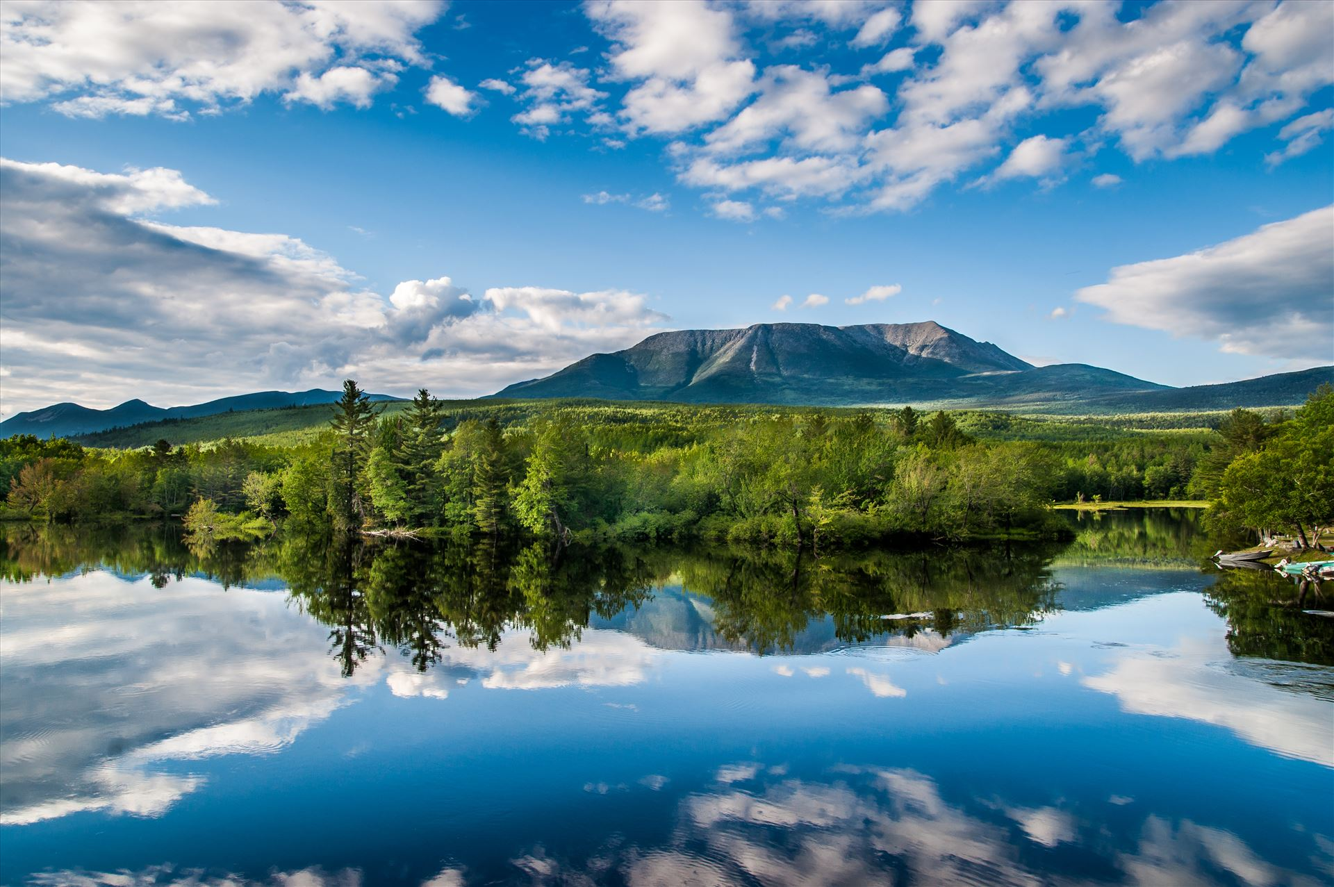 Mount Katahdin,Maine - Photograph of Mount Katahdin, Maine from Abol Bridge,which crosses the West Branch Penobscot River by Buckmaster