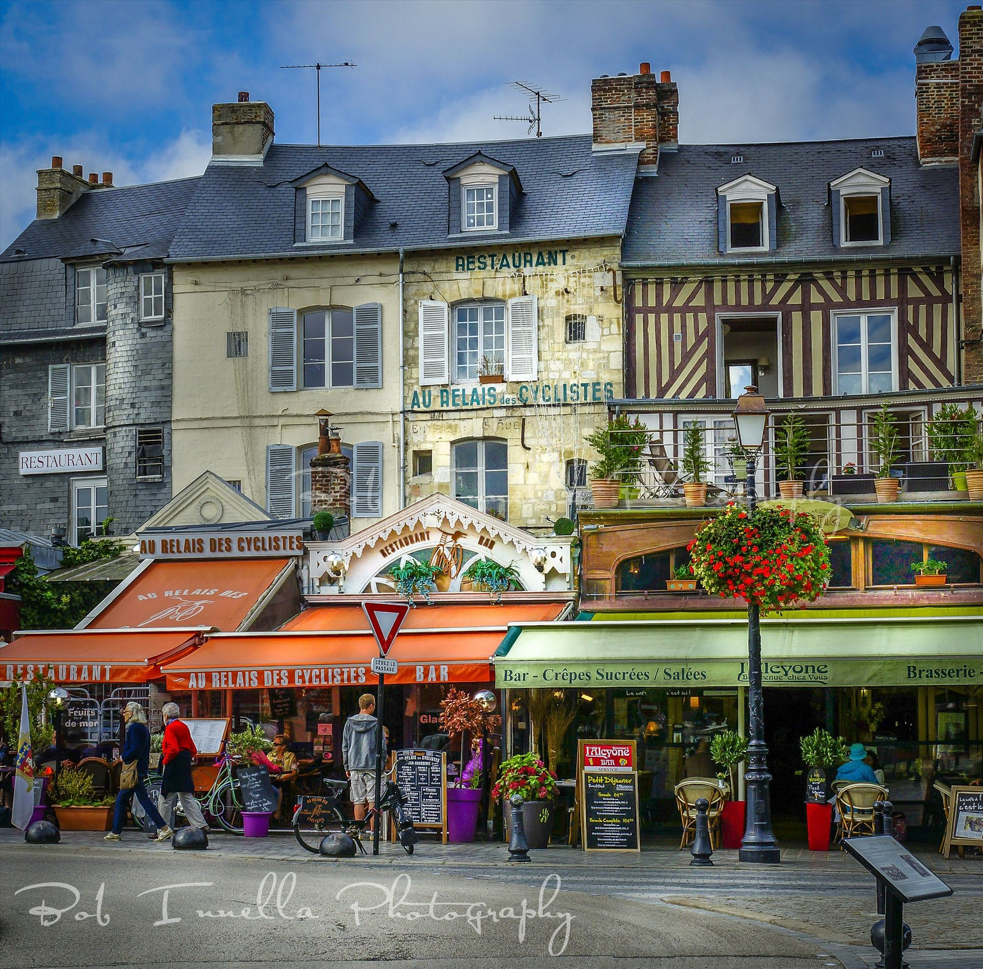 Merchants On City Street In Honfleur, France -  by Buckmaster