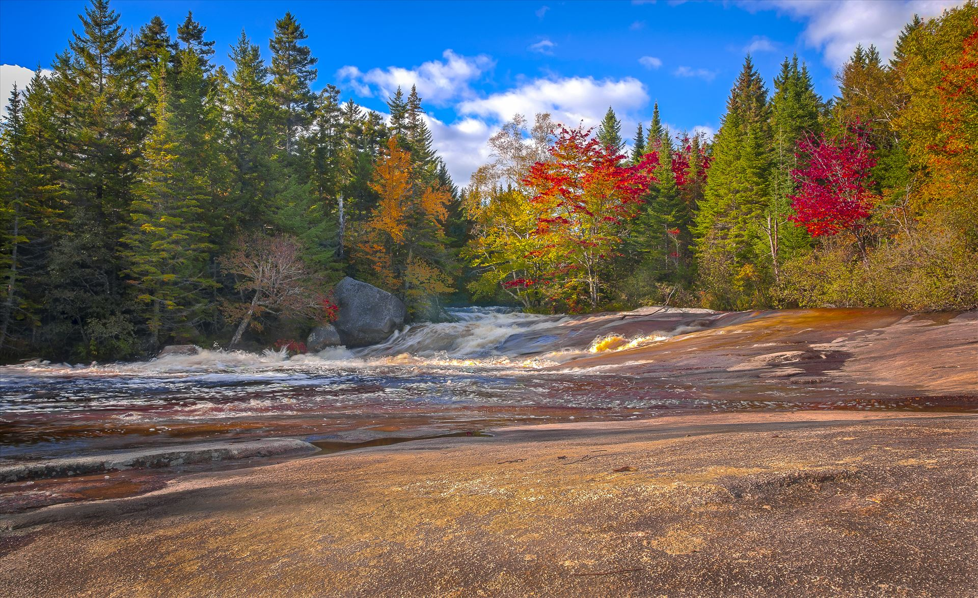 Ledge Falls - On Nesowadnehunk Stream in Baxter State Park, Maine by Buckmaster