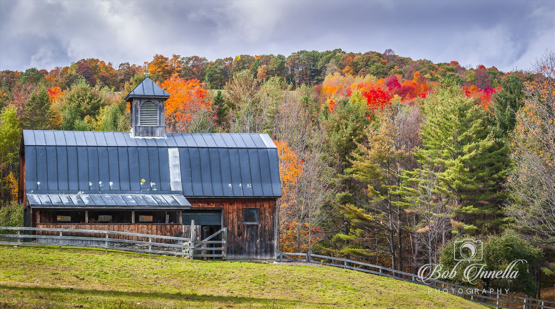 Vermont Horse Barn - Vermont Horse Barn in October Foliage by Buckmaster