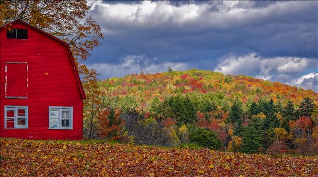 Vermont Red Barn with October Foliage Colors